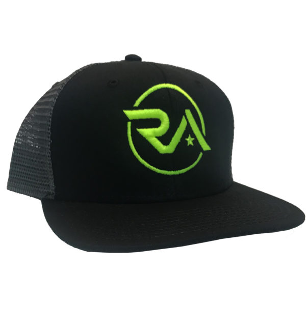 f824fad33a328 Home   Hats   Rugged American Black Gray Trucker Hat-Neon Green Logo